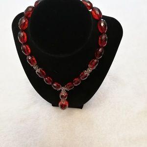 Red Carnelian beaded choker, Vintage